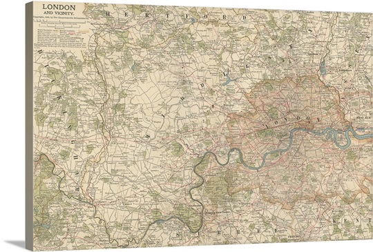 London and Vicinity - Vintage Map Wall Art, Canvas Prints, Framed ...
