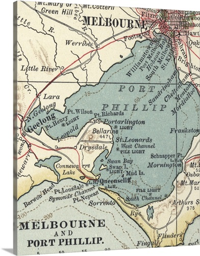 Melbourne and port phillip vintage map wall art canvas prints melbourne and port phillip vintage map gumiabroncs Gallery