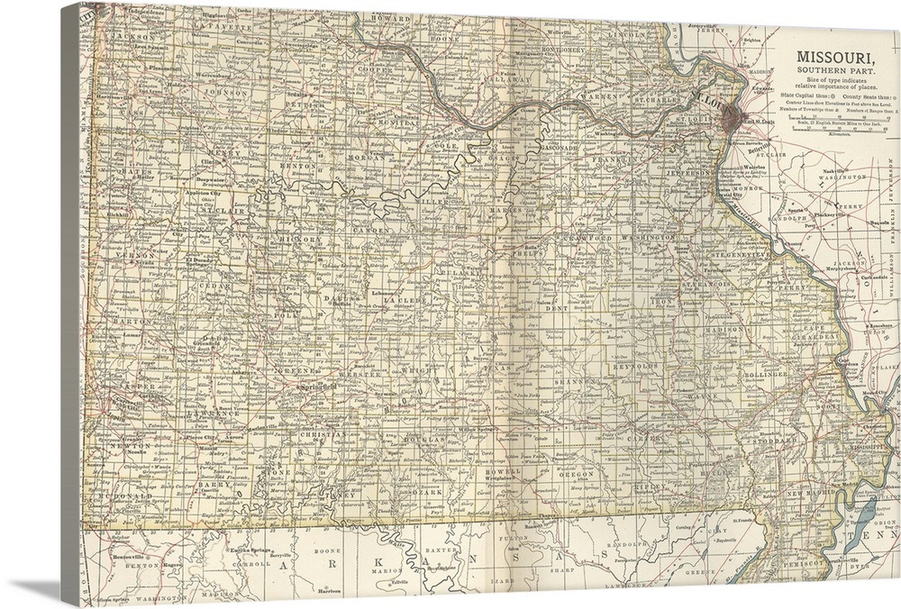 Missouri, Southern Part - Vintage Map