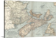 New Brunswick, Nova Scotia, and Prince Edward Island - Vintage Map