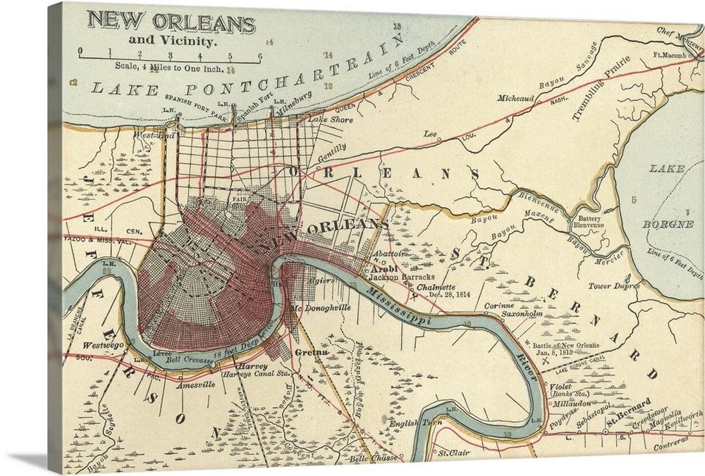 New Orleans - Vintage Map Wall Art, Canvas Prints, Framed Prints ...