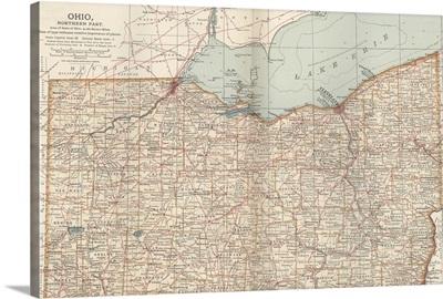 Ohio, Northern Part - Vintage Map