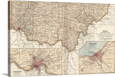 Ohio, Southern Part, with Cincinnati and Cleveland - Vintage Map