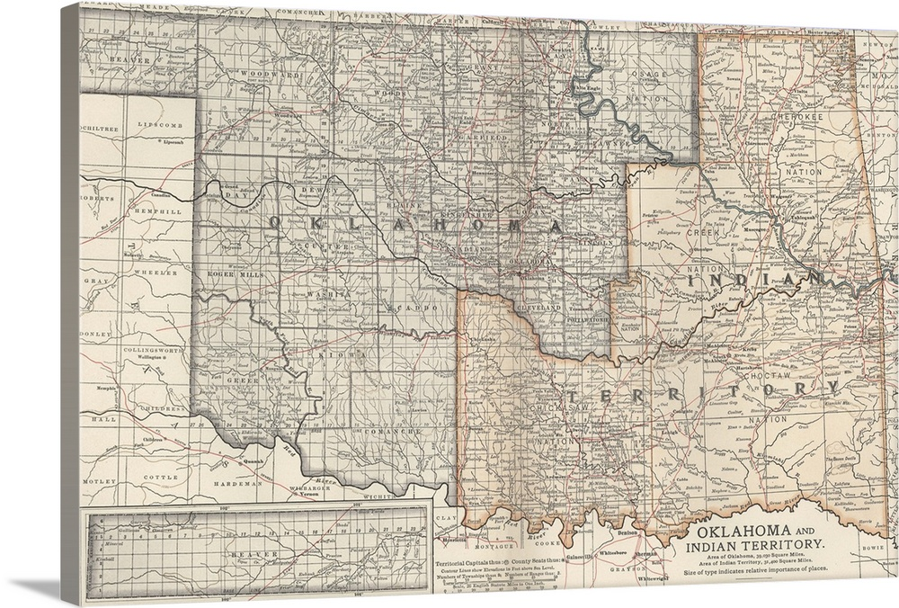 Oklahoma and Indian Territory Vintage Map Wall Art Canvas