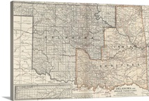 Oklahoma and Indian Territory  - Vintage Map