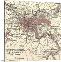 Pittsburg - Vintage Map