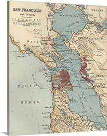 San Francisco Bay - Vintage Map