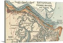 Savannah River - Vintage Map