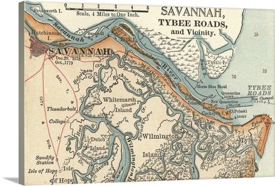 Savannah River Vintage Map Wall Art Canvas Prints Framed - Georgia map savannah river
