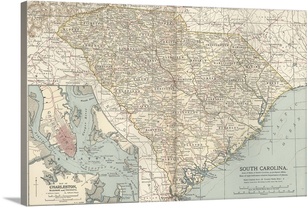 Vintage South Carolina Map.South Carolina Vintage Map Wall Art Canvas Prints Framed Prints