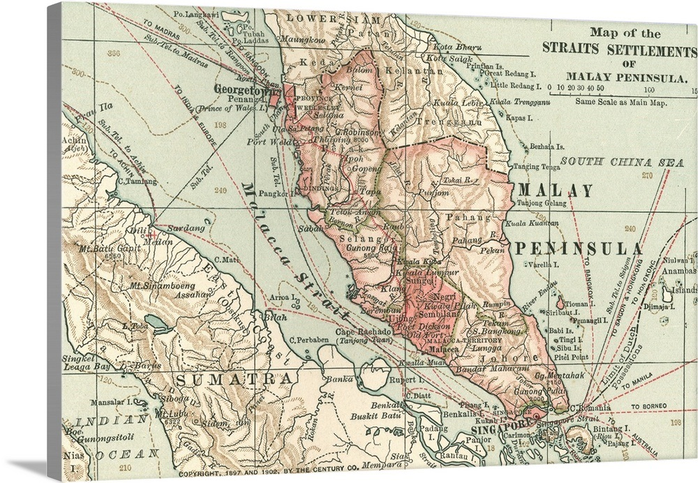 Straits Settlements of Malay Peninsula - Vintage Map on sumatra map, indus river map, malay archipelago, india map, sabah map, strait of malacca, cuba map, arabian peninsula, philippines map, malaysia map, east indies, indonesia map, singapore map, gobi desert on map, east timor map, japan map, peninsular malaysia, persian gulf map, cambodia map, malay language, malay people, laos map, kra isthmus, great sandy desert map, borneo map, cape of good hope map, java on map, maldives map,