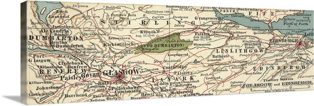 Map Edinburgh.Territory Between Glasgow And Edinburgh Vintage Map