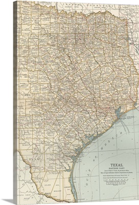 Texas, Eastern Part - Vintage Map