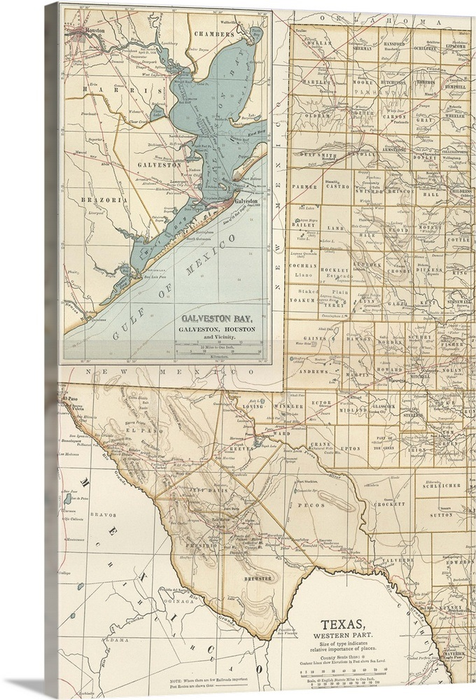 Map Of Western Texas.Texas Western Part Vintage Map