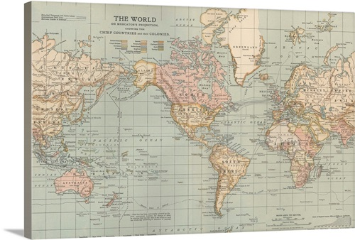 The World Vintage Map Wall Art Canvas Prints Framed Prints Wall Peels Great Big Canvas