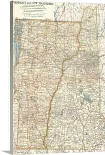 Vermont and New Hampshire - Vintage Map