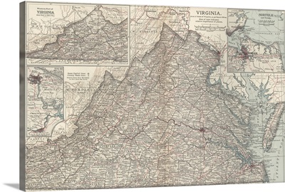 Virginia - Vintage Map