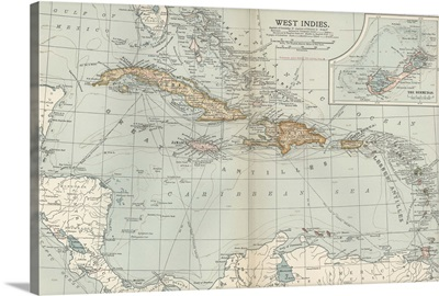 West Indies - Vintage Map