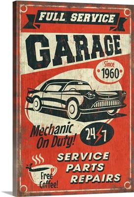 24/7 Full Service Garage, Vintage Sign