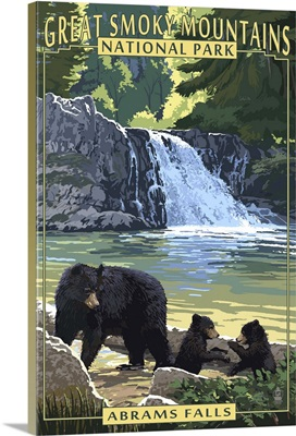 Abrams Falls - Great Smoky Mountains National Park, TN: Retro Travel Poster