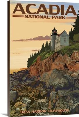 Acadia National Park, Maine - Bass Harbor Lighthouse: Retro Travel Poster