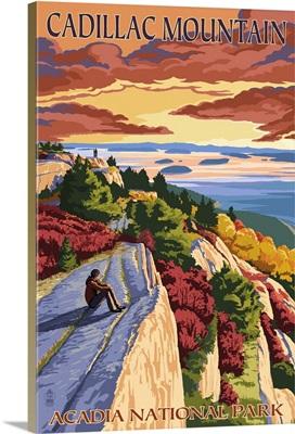 Acadia National Park, Maine - Cadillac Mountain: Retro Travel Poster