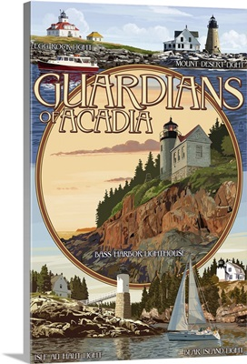 Acadia National Park, Maine - Guardians of Acadia Lighthouses: Retro Travel Poster