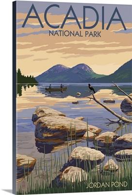 Acadia National Park, Maine - Jordan Pond: Retro Travel Poster