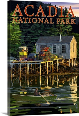 Acadia National Park, Maine - Lobster Shack: Retro Travel Poster