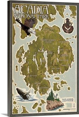 Acadia National Park, Maine - Map: Retro Travel Poster