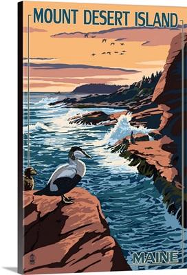 Acadia National Park, Maine - Mount Desert Island: Retro Travel Poster