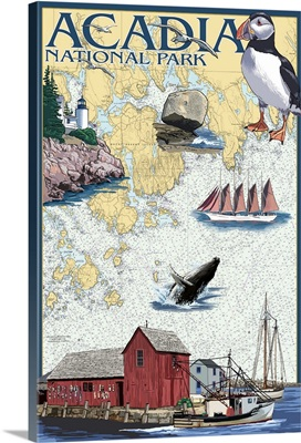 Acadia National Park, Maine - Nautical Chart: Retro Travel Poster
