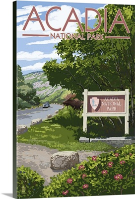 Acadia National Park, Maine - Park Entrance Sign and Moose: Retro Travel Poster