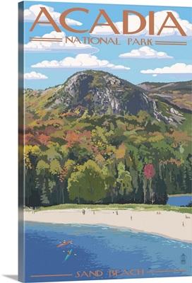 Acadia National Park, Maine - Sand Beach Scene: Retro Travel Poster