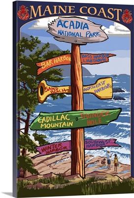 Acadia National Park, Maine - Sign Destinations: Retro Travel Poster
