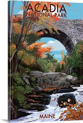 Acadia National Park, Maine - Stone Bridge: Retro Travel Poster