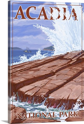 Acadia National Park, Maine - Waves and Boat: Retro Travel Poster