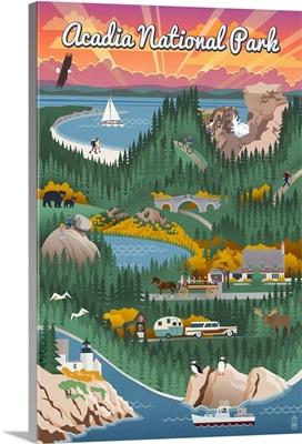 Acadia National Park - Retro View: Retro Travel Poster