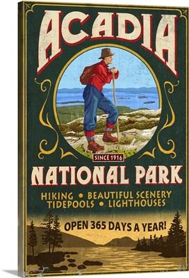 Acadia National Park - Vintage Hiker Sign: Retro Travel Poster