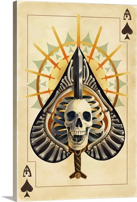 Ace of Spades - Playing Card: Retro Art Poster