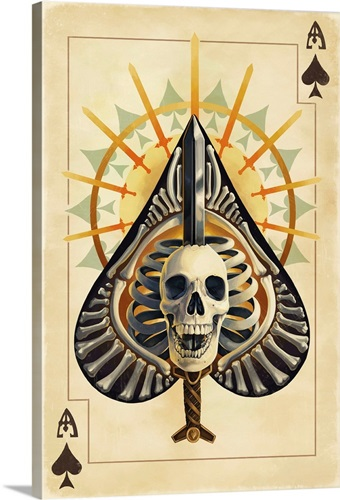 Ace of Spades - Playing Card: Retro Art Poster Wall Art, Canvas ...