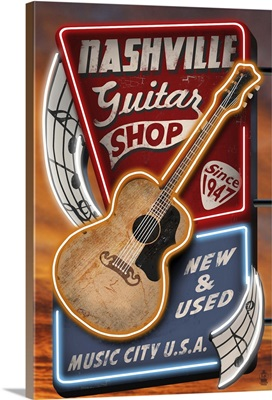 Acoustic Guitar Music Shop - Nashville, Tennessee: Retro Travel Poster