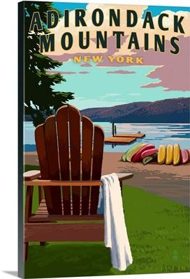 Adirondack Mountains, New York, Adirondack Chair and Lake
