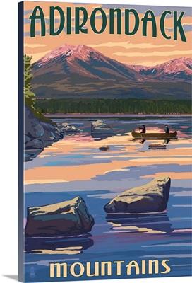 Adirondack Mountains, New York, Lake and Mountain View