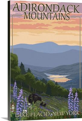 Adirondacks Mountains - Lake Placid, New York - Bears and Flowers: Retro Travel Poster