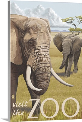African Elephant - Visit the Zoo : Retro Travel Poster