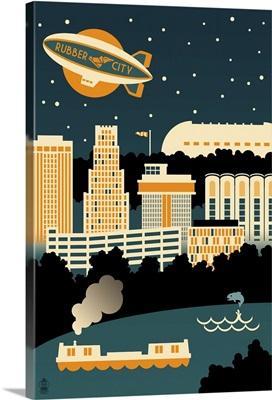 Akron, Ohio, Retro Skyline
