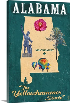 Alabama - State Icons: Retro Travel Poster