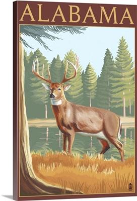 Alabama White Tailed Deer: Retro Travel Poster