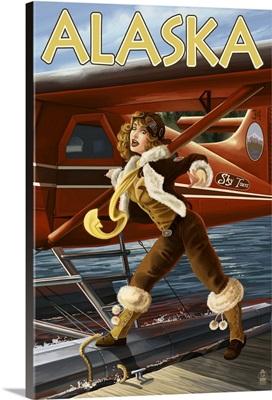 Alaska - Aviator Pinup Girl: Retro Travel Poster